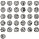 "TH93631 Tim Holtz® Idea-ology™ Countdown Brad Fasteners .5"" 31/Pkg Antique Nickel Numbers 1 Through 31"